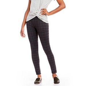 Pants - Gray & Blue plaid leggings cute front pockets